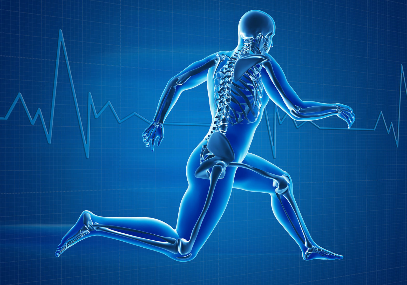 Graphic of skeleton running, with heartbeat line